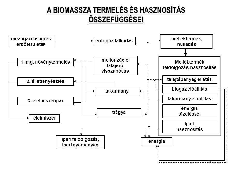 41 A BIOMASSZA TERMELÉS ÉS HASZNOSÍTÁS ÖSSZEFÜGGÉSEI mezőgazdasági és erdőterületek erdőgazdálkodás melléktermék, hulladék 1. mg. növénytermelés 2. ál