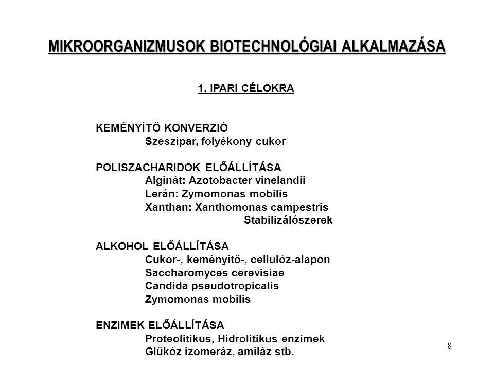 8 MIKROORGANIZMUSOK BIOTECHNOLÓGIAI ALKALMAZÁSA 1. IPARI CÉLOKRA KEMÉNYÍTŐ KONVERZIÓ Szeszipar, folyékony cukor POLISZACHARIDOK ELŐÁLLÍTÁSA Alginát: A