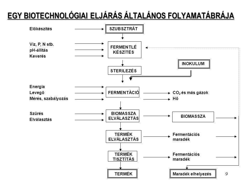 9 EGY BIOTECHNOLÓGIAI ELJÁRÁS ÁLTALÁNOS FOLYAMATÁBRÁJA EGY BIOTECHNOLÓGIAI ELJÁRÁS ÁLTALÁNOS FOLYAMATÁBRÁJA ElőkészítésSZUBSZTRÁT Víz, P, N stb. pH-ál