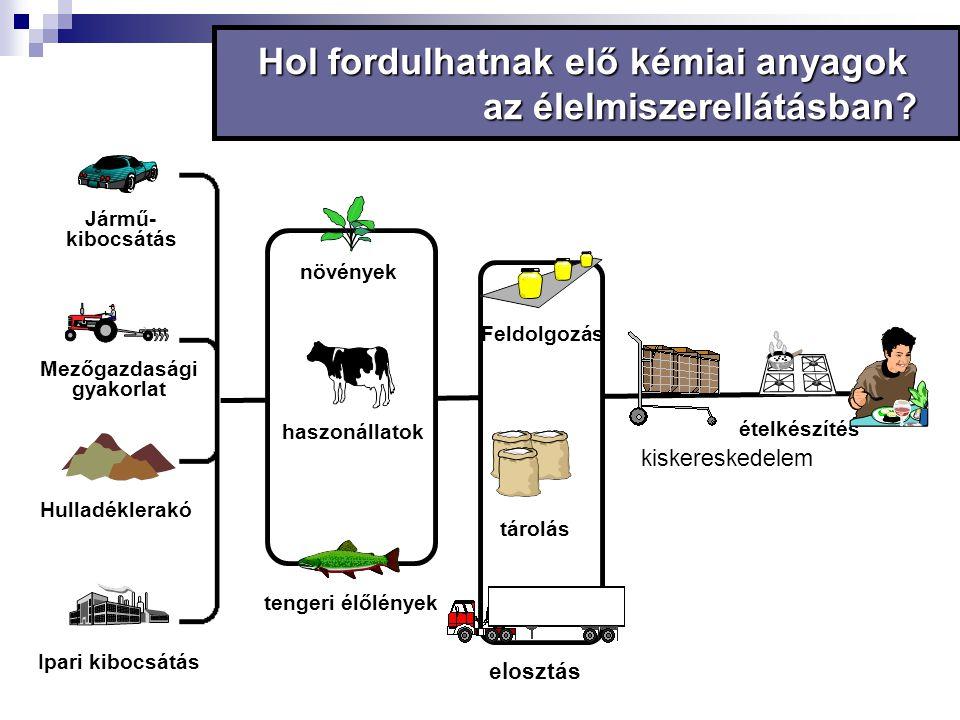 Ipari kibocsátás Hulladéklerakó Jármű- kibocsátás Mezőgazdasági gyakorlat Hol fordulhatnak elő kémiai anyagok az élelmiszerellátásban? Feldolgozás tár