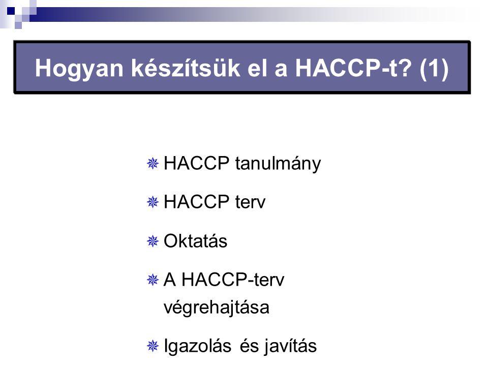 Hogyan készítsük el a HACCP-t? (1)  HACCP tanulmány  HACCP terv  Oktatás  A HACCP-terv végrehajtása  Igazolás és javítás