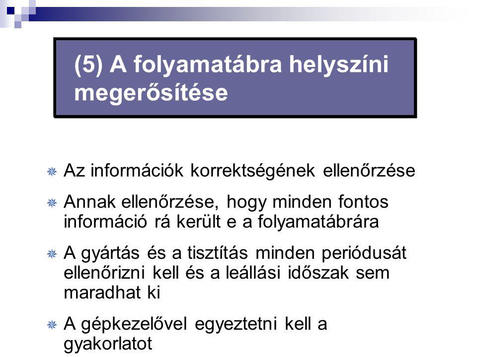 (5) A folyamatábra helyszíni megerősítése  Az információk korrektségének ellenőrzése  Annak ellenőrzése, hogy minden fontos információ rá került e a