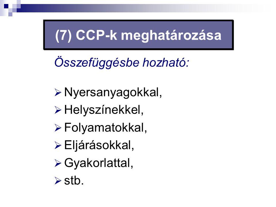 (7) CCP-k meghatározása Összefüggésbe hozható:  Nyersanyagokkal,  Helyszínekkel,  Folyamatokkal,  Eljárásokkal,  Gyakorlattal,  stb.
