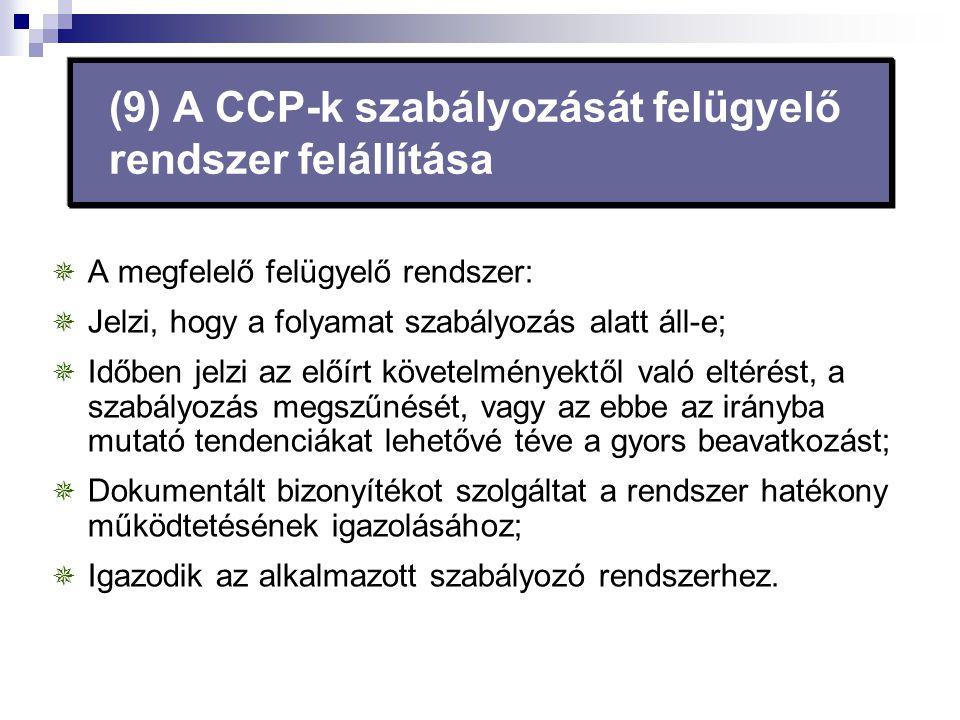 (9) A CCP-k szabályozását felügyelő rendszer felállítása  A megfelelő felügyelő rendszer:  Jelzi, hogy a folyamat szabályozás alatt áll-e;  Időben