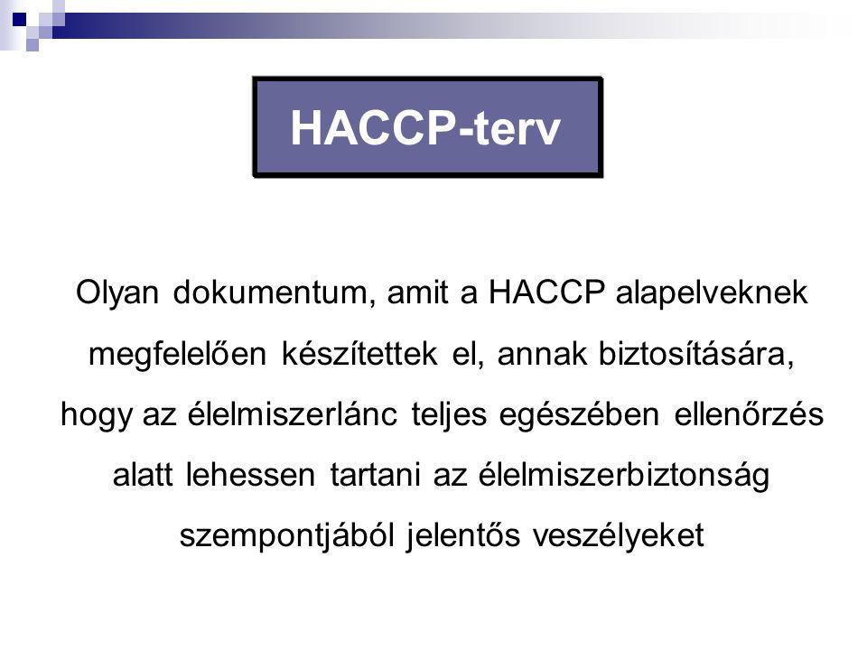 HACCP-terv Olyan dokumentum, amit a HACCP alapelveknek megfelelően készítettek el, annak biztosítására, hogy az élelmiszerlánc teljes egészében ellenő