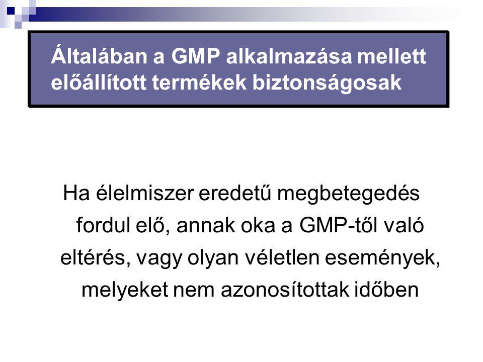 Általában a GMP alkalmazása mellett előállított termékek biztonságosak Ha élelmiszer eredetű megbetegedés fordul elő, annak oka a GMP-től való eltérés