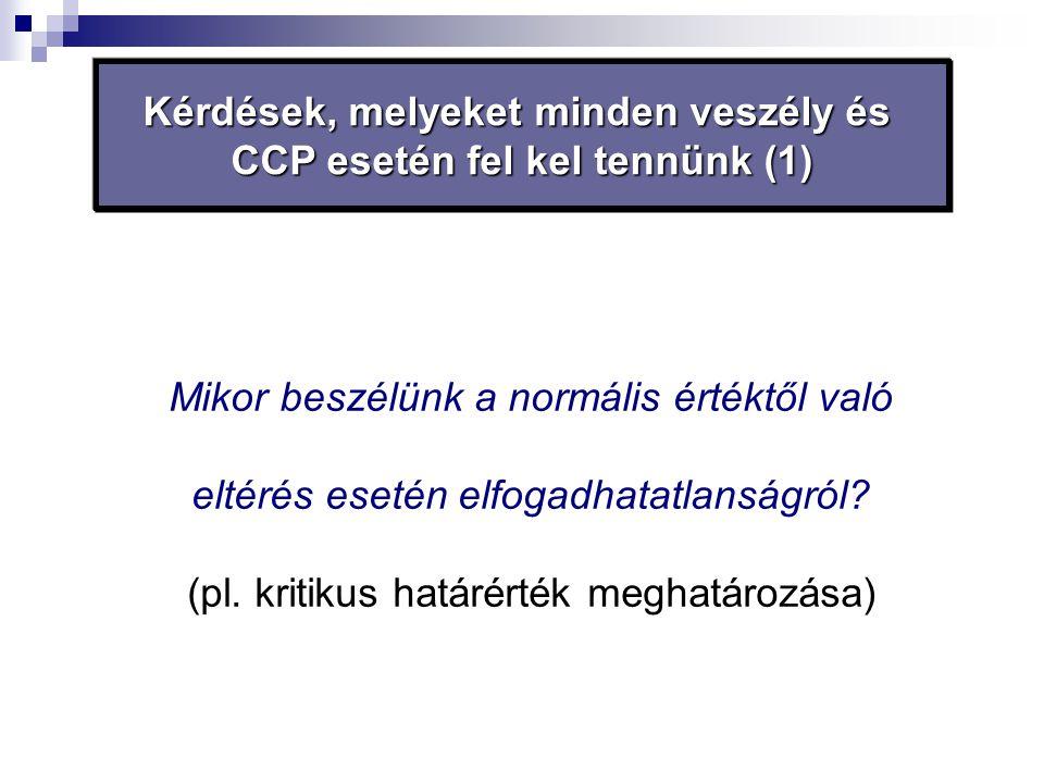 Kérdések, melyeket minden veszély és CCP esetén fel kel tennünk (1) Mikor beszélünk a normális értéktől való eltérés esetén elfogadhatatlanságról? (pl