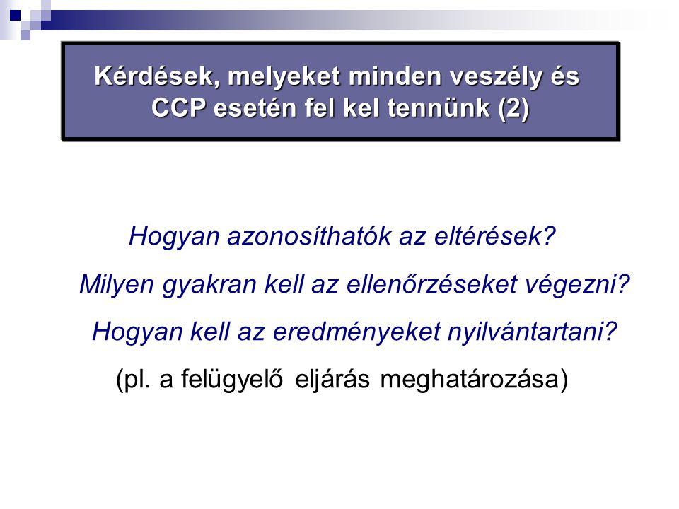 Kérdések, melyeket minden veszély és CCP esetén fel kel tennünk (2) Hogyan azonosíthatók az eltérések? Milyen gyakran kell az ellenőrzéseket végezni?