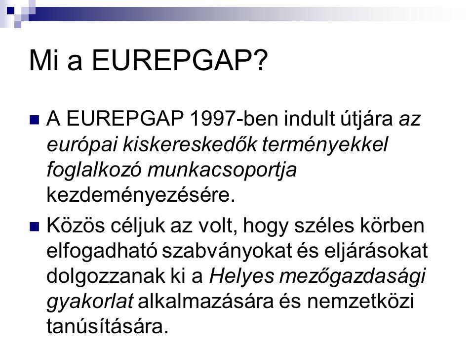 Mi a EUREPGAP? A EUREPGAP 1997-ben indult útjára az európai kiskereskedők terményekkel foglalkozó munkacsoportja kezdeményezésére. Közös céljuk az vol