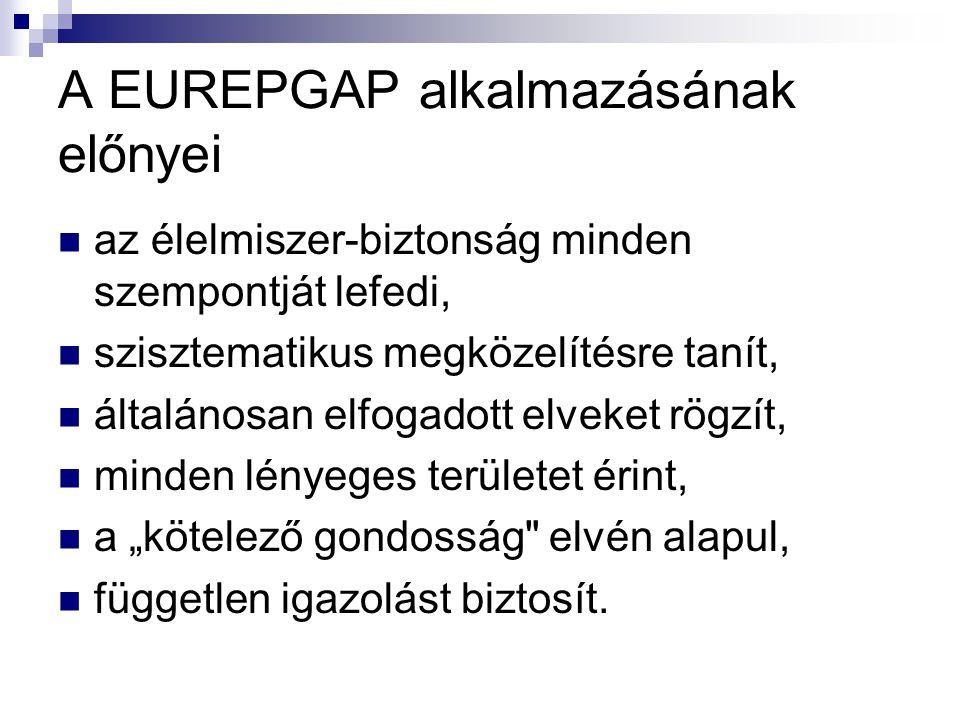 A EUREPGAP alkalmazásának előnyei az élelmiszer-biztonság minden szempontját lefedi, szisztematikus megközelítésre tanít, általánosan elfogadott elvek