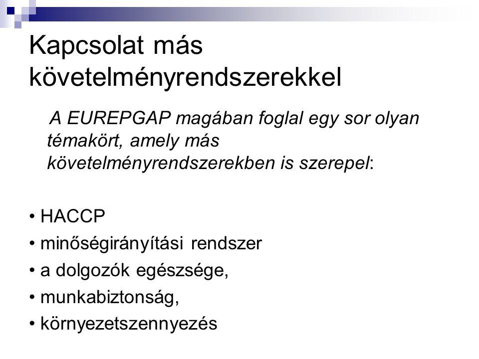 Kapcsolat más követelményrendszerekkel A EUREPGAP magában foglal egy sor olyan témakört, amely más követelményrendszerekben is szerepel: HACCP minősé