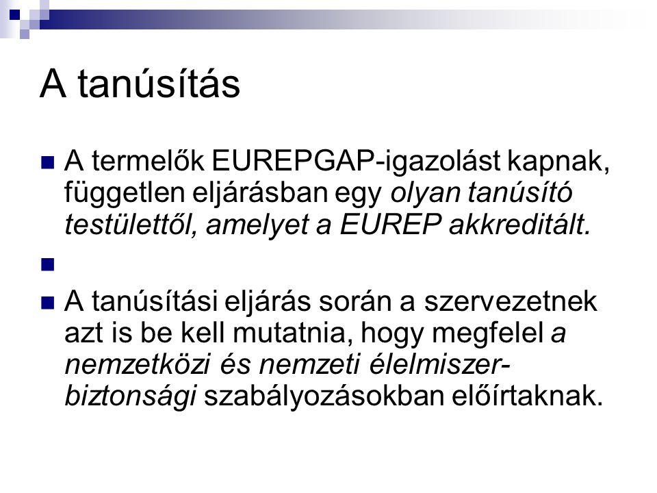 A tanúsítás A termelők EUREPGAP-igazolást kapnak, független eljárásban egy olyan tanúsító testülettől, amelyet a EUREP akkreditált. A tanúsítási eljár