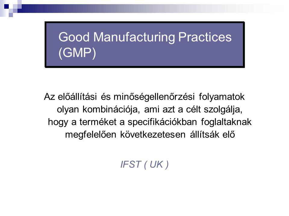 Good Manufacturing Practices (GMP) Az előállítási és minőségellenőrzési folyamatok olyan kombinációja, ami azt a célt szolgálja, hogy a terméket a spe