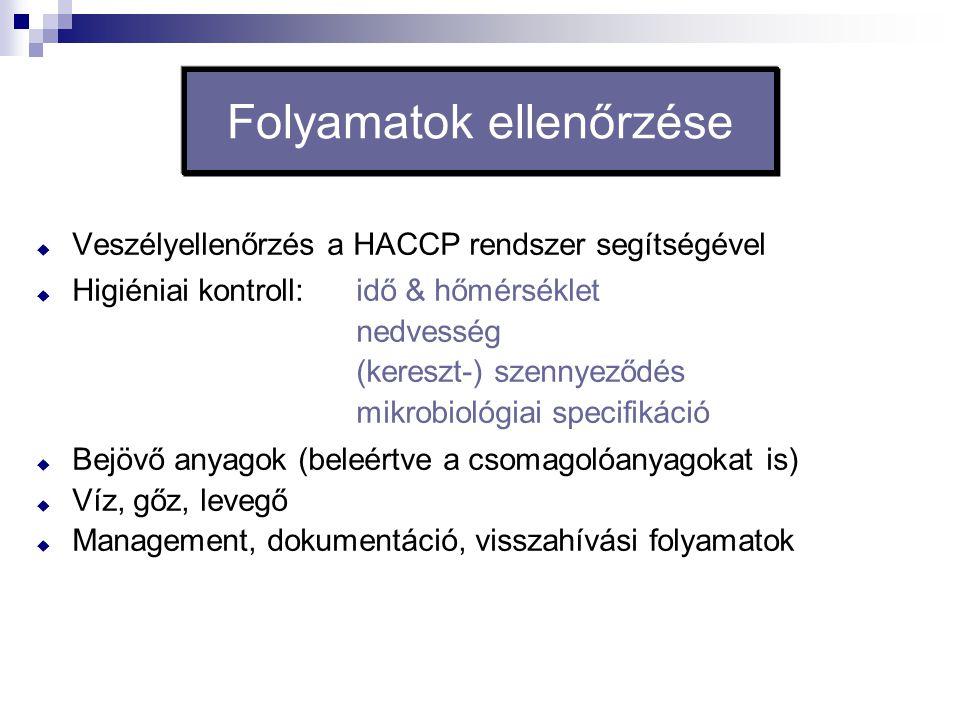 Folyamatok ellenőrzése  Veszélyellenőrzés a HACCP rendszer segítségével  Higiéniai kontroll: idő & hőmérséklet nedvesség (kereszt-) szennyeződés mik