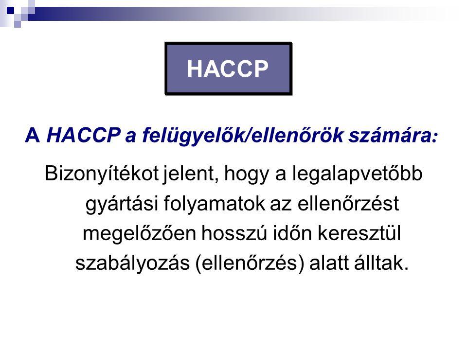 HACCP Bizonyítékot jelent, hogy a legalapvetőbb gyártási folyamatok az ellenőrzést megelőzően hosszú időn keresztül szabályozás (ellenőrzés) alatt áll