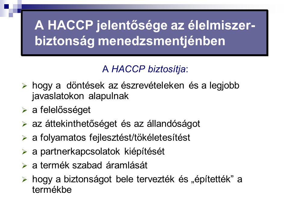 A HACCP jelentősége az élelmiszer- biztonság menedzsmentjénben A HACCP biztosítja:  hogy a döntések az észrevételeken és a legjobb javaslatokon alapu