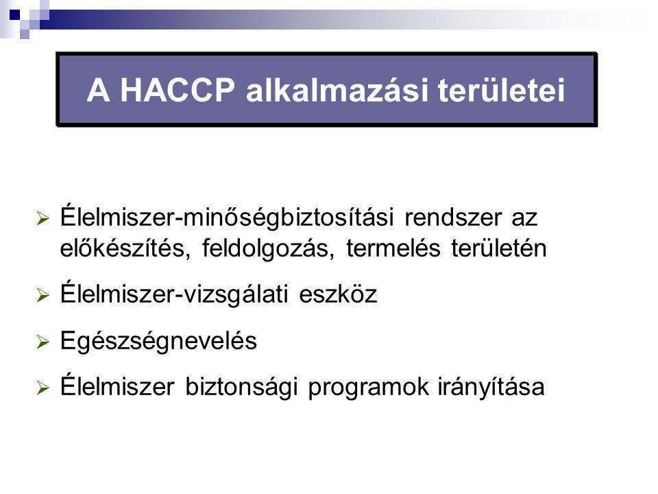 A HACCP alkalmazási területei  Élelmiszer-minőségbiztosítási rendszer az előkészítés, feldolgozás, termelés területén  Élelmiszer-vizsgálati eszköz