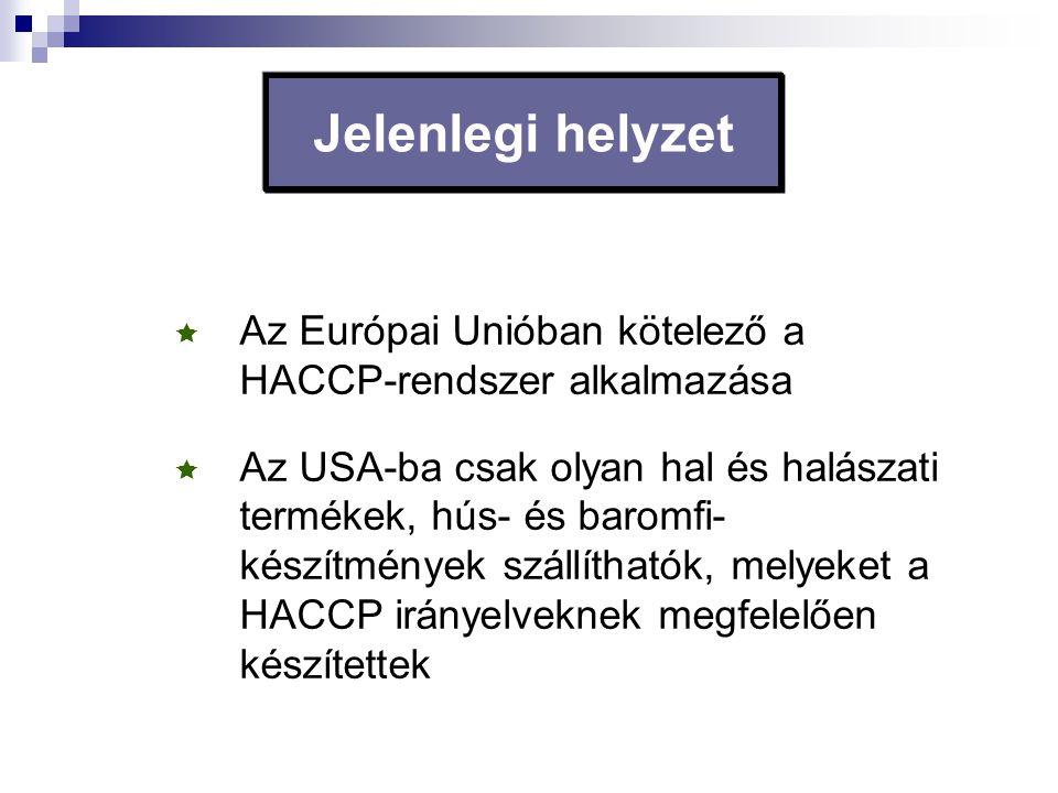 Jelenlegi helyzet  Az Európai Unióban kötelező a HACCP-rendszer alkalmazása  Az USA-ba csak olyan hal és halászati termékek, hús- és baromfi- készít