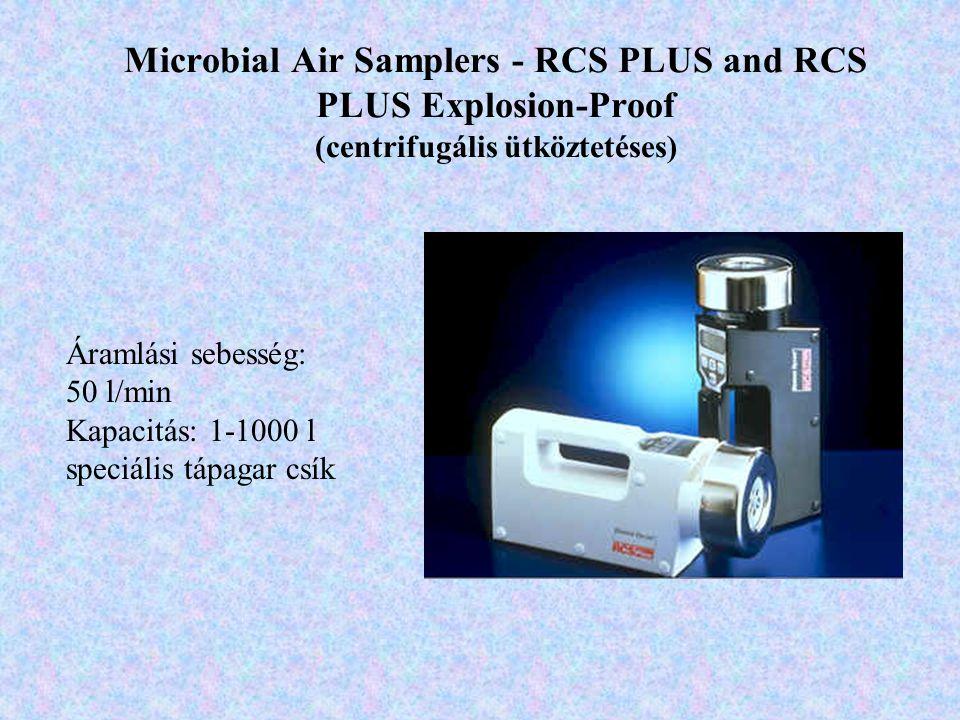 Microbial Air Samplers - RCS PLUS and RCS PLUS Explosion-Proof (centrifugális ütköztetéses) Áramlási sebesség: 50 l/min Kapacitás: 1-1000 l speciális