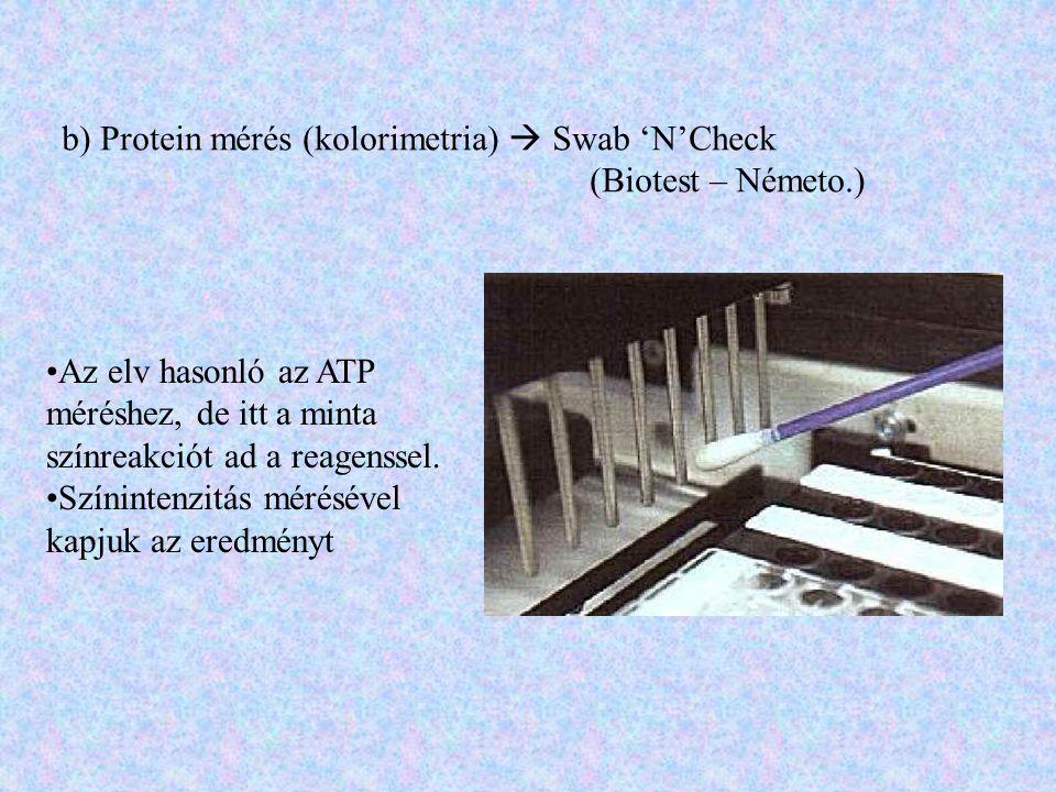 b) Protein mérés (kolorimetria)  Swab 'N'Check (Biotest – Németo.) Az elv hasonló az ATP méréshez, de itt a minta színreakciót ad a reagenssel. Színi