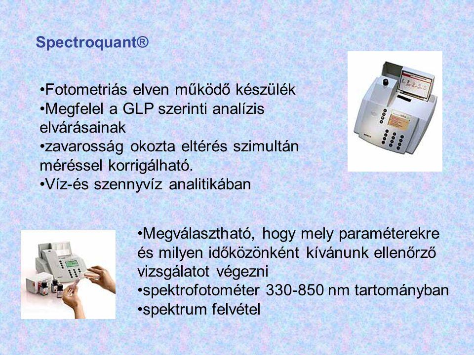 Spectroquant® Fotometriás elven működő készülék Megfelel a GLP szerinti analízis elvárásainak zavarosság okozta eltérés szimultán méréssel korrigálhat