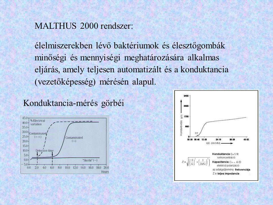 MALTHUS 2000 rendszer: élelmiszerekben lévő baktériumok és élesztőgombák minőségi és mennyiségi meghatározására alkalmas eljárás, amely teljesen autom