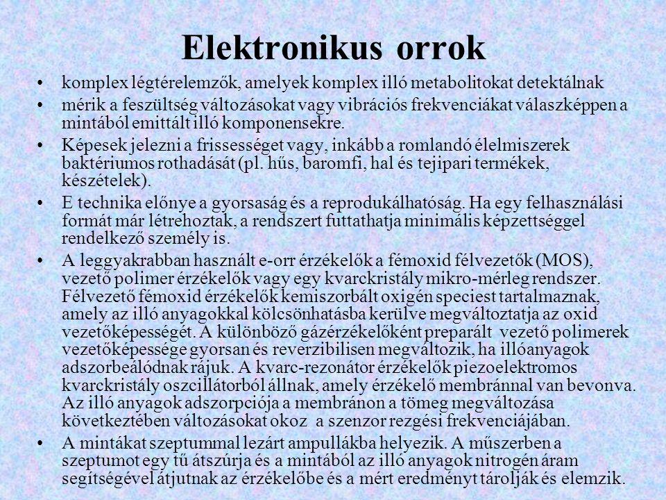 Elektronikus orrok komplex légtérelemzők, amelyek komplex illó metabolitokat detektálnak mérik a feszültség változásokat vagy vibrációs frekvenciákat