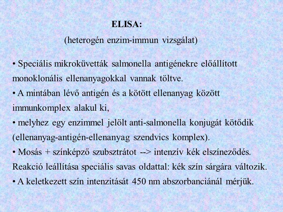ELISA: (heterogén enzim-immun vizsgálat) Speciális mikroküvetták salmonella antigénekre előállított monoklonális ellenanyagokkal vannak töltve. A mint