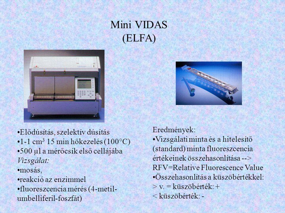 Mini VIDAS (ELFA) Elődúsítás, szelektív dúsítás 1-1 cm 3 15 min hőkezelés (100°C) 500 µl a mérőcsík első cellájába Vizsgálat: mosás, reakció az enzimm