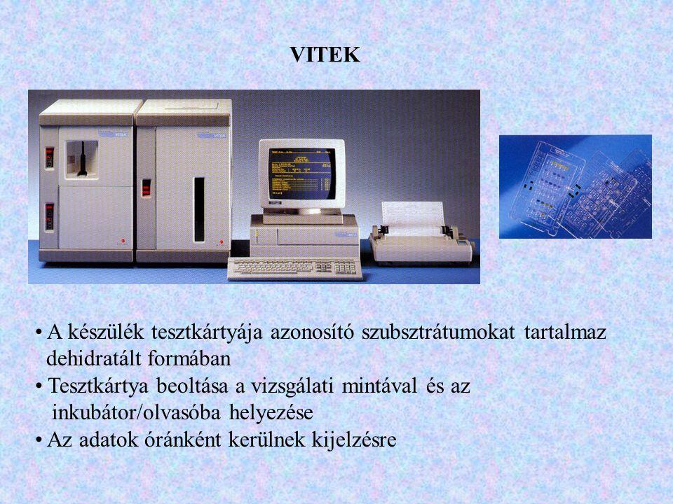 VITEK A készülék tesztkártyája azonosító szubsztrátumokat tartalmaz dehidratált formában Tesztkártya beoltása a vizsgálati mintával és az inkubátor/ol
