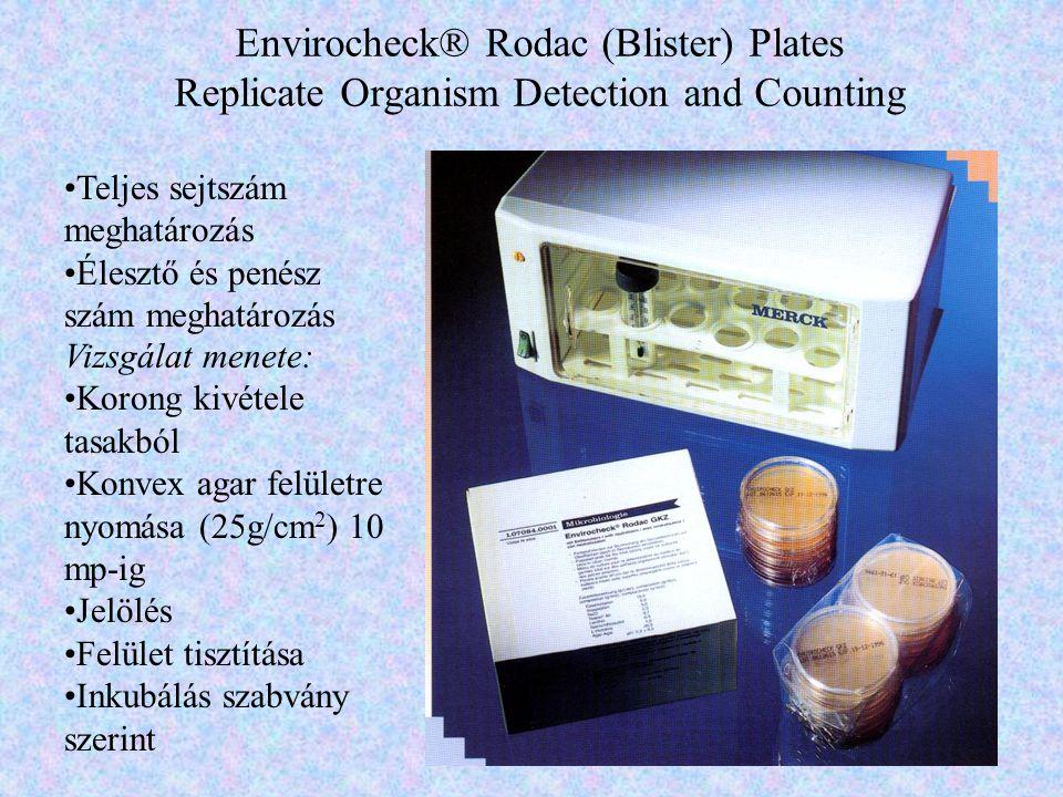 Envirocheck® Rodac (Blister) Plates Replicate Organism Detection and Counting Teljes sejtszám meghatározás Élesztő és penész szám meghatározás Vizsgál