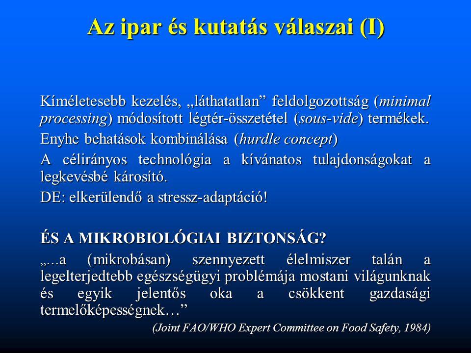 """Az ipar és kutatás válaszai (I) Kíméletesebb kezelés, """"láthatatlan"""" feldolgozottság (minimal processing) módosított légtér-összetétel (sous-vide) term"""
