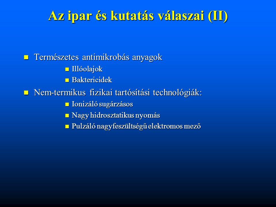 Az ipar és kutatás válaszai (II) Természetes antimikrobás anyagok Természetes antimikrobás anyagok Illóolajok Illóolajok Baktericidek Baktericidek Nem
