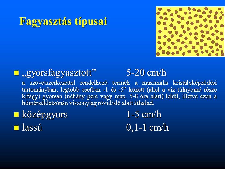 """Fagyasztás típusai """"gyorsfagyasztott"""" 5-20 cm/h """"gyorsfagyasztott"""" 5-20 cm/h a szövetszerkezettel rendelkező termék a maximális kristályképződési tart"""
