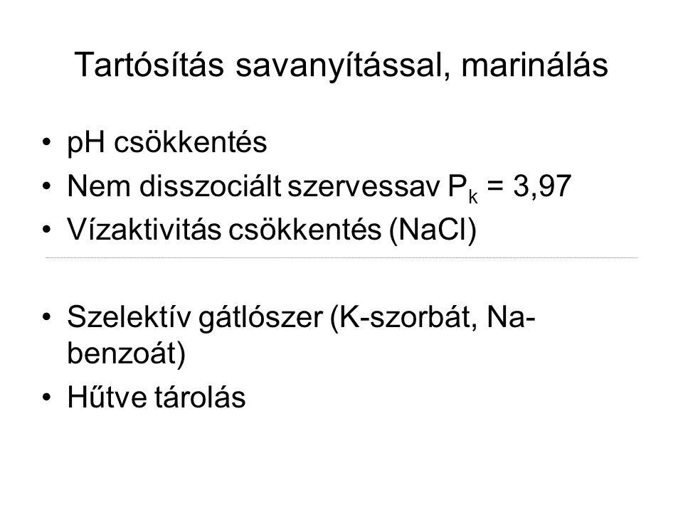 Tartósítás savanyítással, marinálás pH csökkentés Nem disszociált szervessav P k = 3,97 Vízaktivitás csökkentés (NaCl) Szelektív gátlószer (K-szorbát,