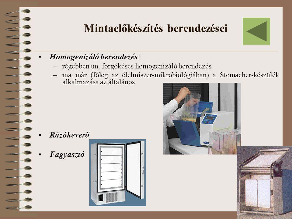 Mintaelőkészítés berendezései Homogenizáló berendezés: –régebben un. forgókéses homogenizáló berendezés –ma már (főleg az élelmiszer-mikrobiológiában)