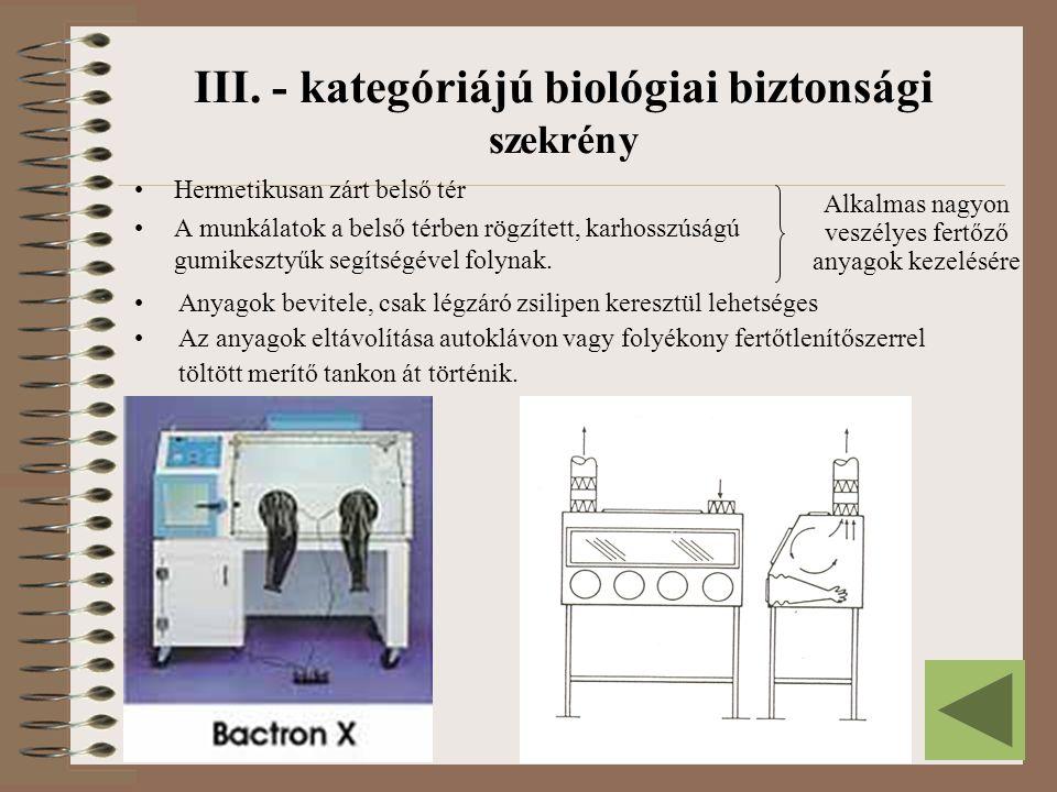 III. - kategóriájú biológiai biztonsági szekrény Hermetikusan zárt belső tér A munkálatok a belső térben rögzített, karhosszúságú gumikesztyűk segítsé