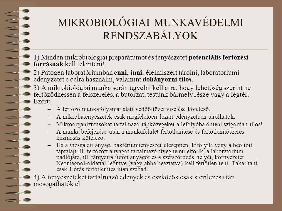 MIKROBIOLÓGIAI MUNKAVÉDELMI RENDSZABÁLYOK 1) Minden mikrobiológiai preparátumot és tenyészetet potenciális fertőzési forrásnak kell tekinteni! 2) Pato