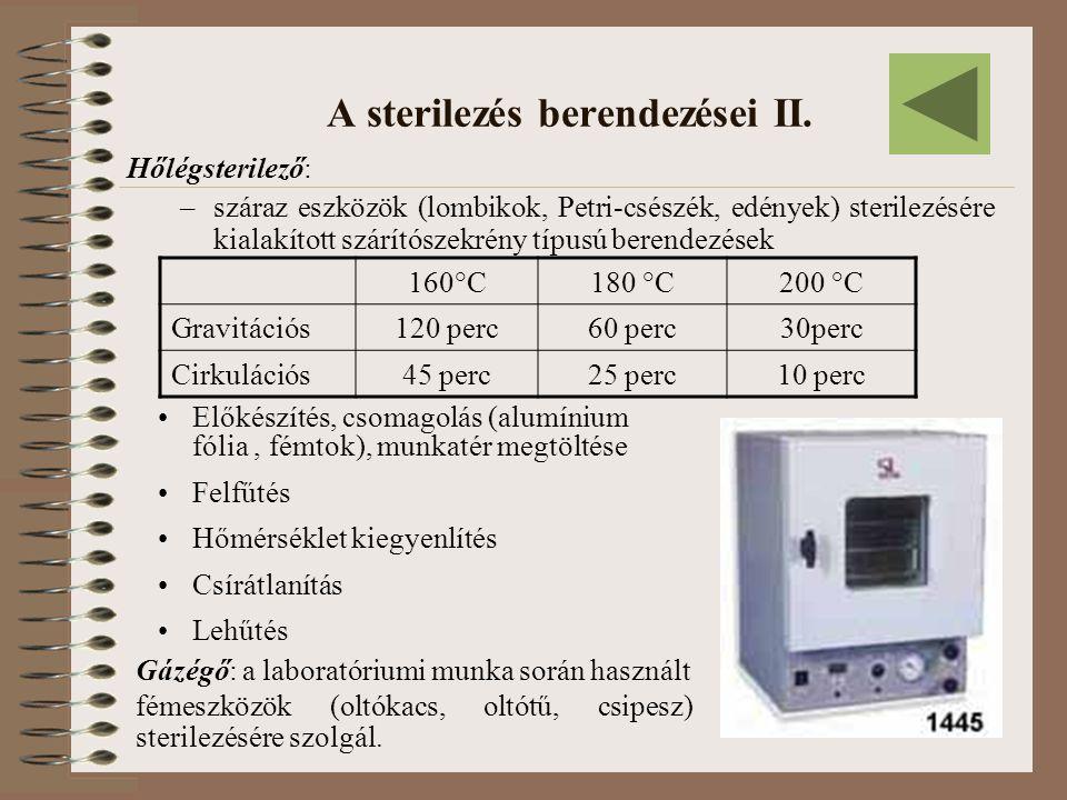 A sterilezés berendezései II. Hőlégsterilező: –száraz eszközök (lombikok, Petri-csészék, edények) sterilezésére kialakított szárítószekrény típusú ber