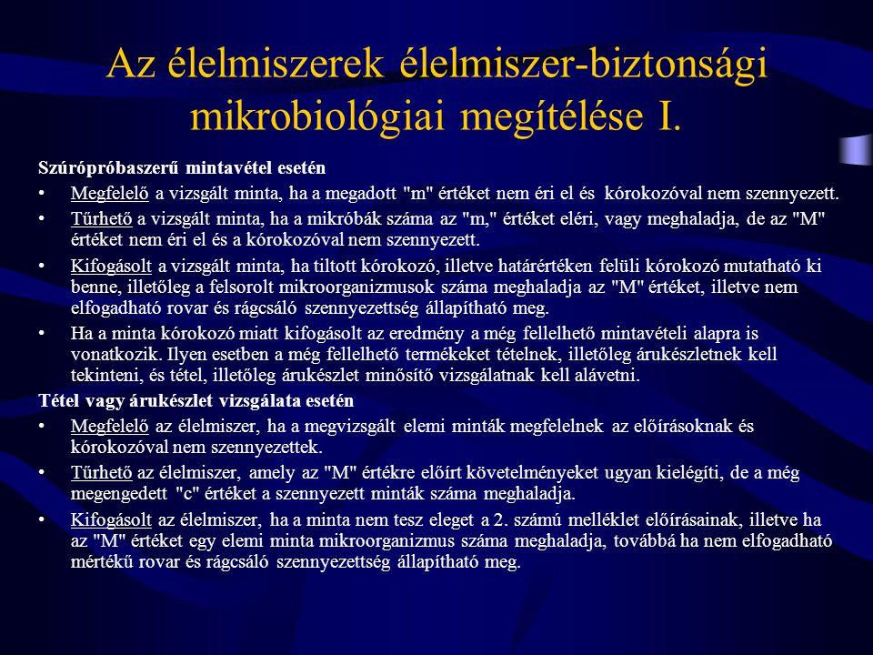 Az élelmiszerek élelmiszer-biztonsági mikrobiológiai megítélése I.