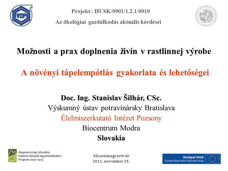 Možnosti a prax doplnenia živín v rastlinnej výrobe A növényi tápelempótlás gyakorlata és lehetőségei Mosonmagyaróvár 2011. november 25. Projekt : HUS
