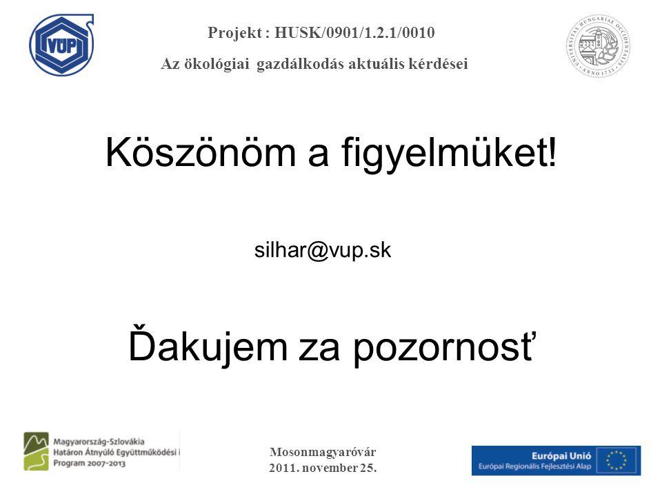 Köszönöm a figyelmüket! Ďakujem za pozornosť silhar@vup.sk Mosonmagyaróvár 2011. november 25. Projekt : HUSK/0901/1.2.1/0010 Az ökológiai gazdálkodás