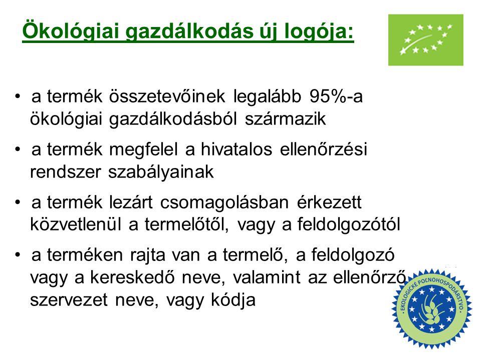 Ökológiai gazdálkodás új logója: a termék összetevőinek legalább 95%-a ökológiai gazdálkodásból származik a termék megfelel a hivatalos ellenőrzési re
