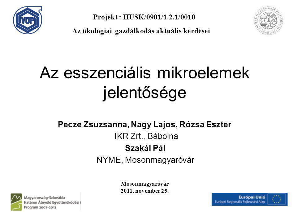 Az esszenciális mikroelemek jelentősége Pecze Zsuzsanna, Nagy Lajos, Rózsa Eszter IKR Zrt., Bábolna Szakál Pál NYME, Mosonmagyaróvár Mosonmagyaróvár 2