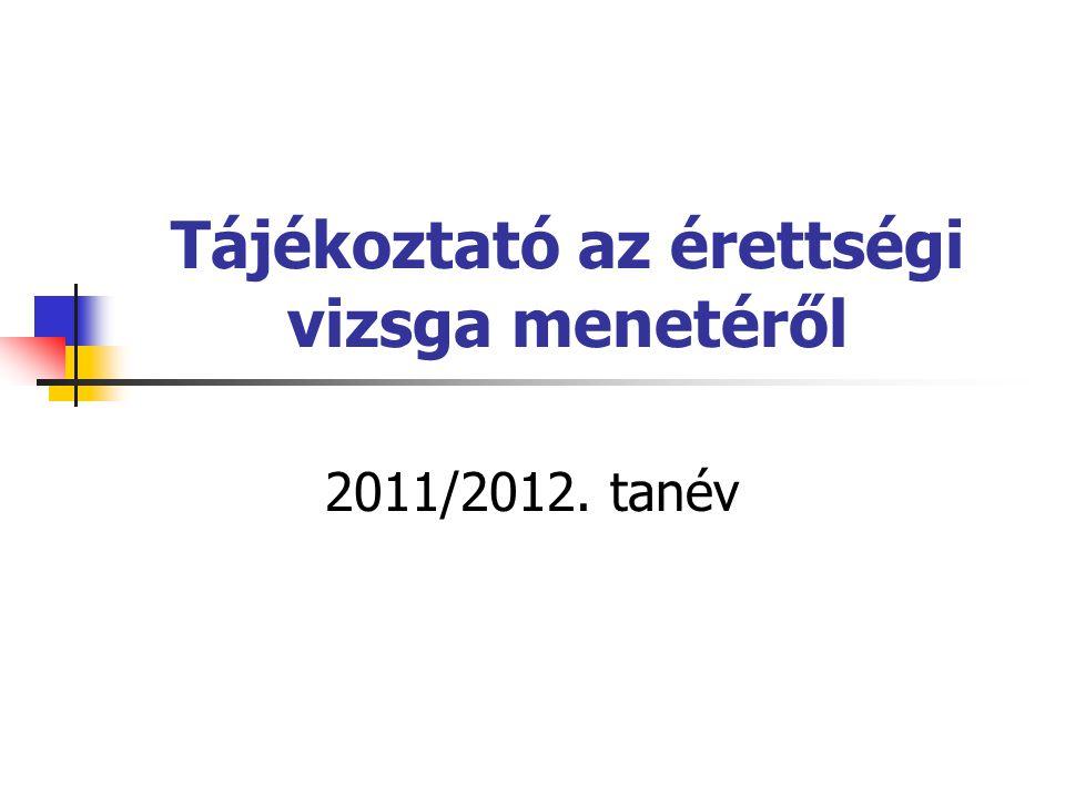 Tájékoztató az érettségi vizsga menetéről 2011/2012. tanév