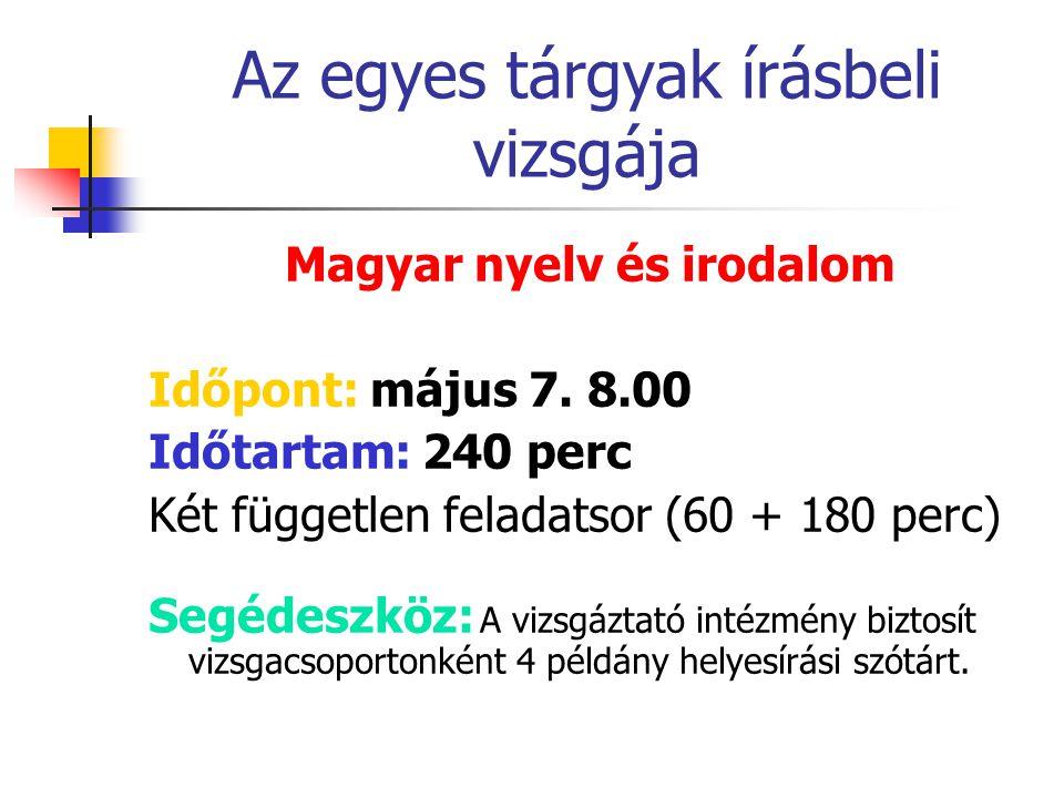 Az egyes tárgyak írásbeli vizsgája Magyar nyelv és irodalom Időpont: május 7.