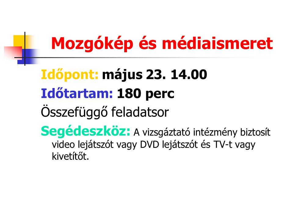 Mozgókép és médiaismeret Időpont: május 23.