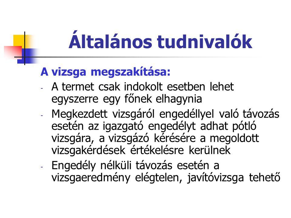 Szóbeli vizsga A vizsga helyszíne: Eötvös J.Ev. Gimnázium és Eü.