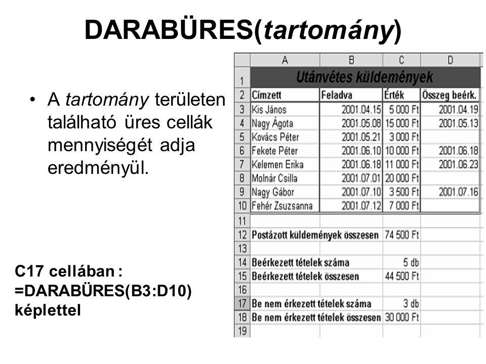 DARABÜRES(tartomány) A tartomány területen található üres cellák mennyiségét adja eredményül. C17 cellában : =DARABÜRES(B3:D10) képlettel