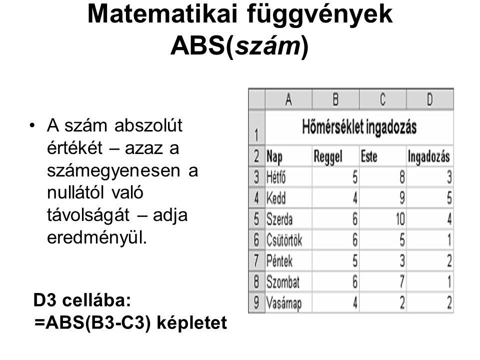 Matematikai függvények ABS(szám) A szám abszolút értékét – azaz a számegyenesen a nullától való távolságát – adja eredményül. D3 cellába: =ABS(B3-C3)